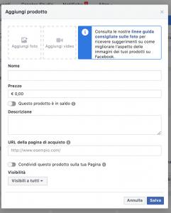 inserimento prodotto vetrina facebook